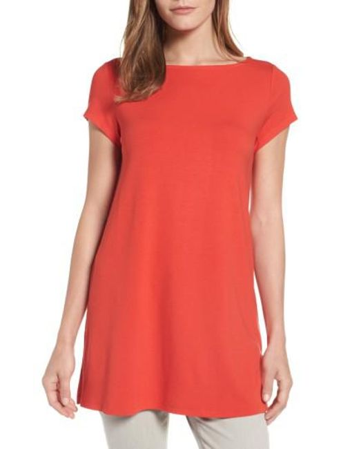 Eileen Fisher   Red Bateau Neck Tunic Top   Lyst