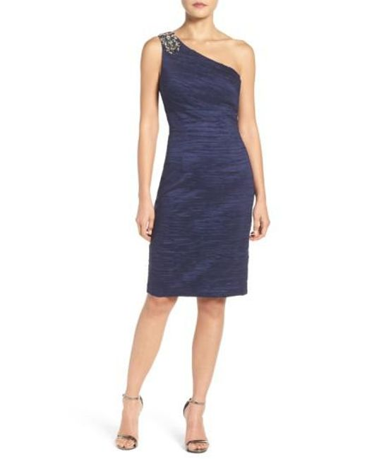 Eliza J | Blue Embellished Taffeta Sheath Dress | Lyst