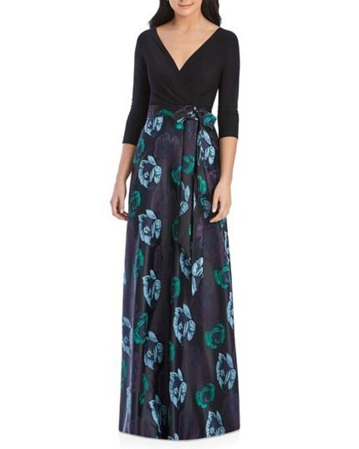 Alfred Sung - Black Faux Wrap Jersey & Brocade Gown - Lyst