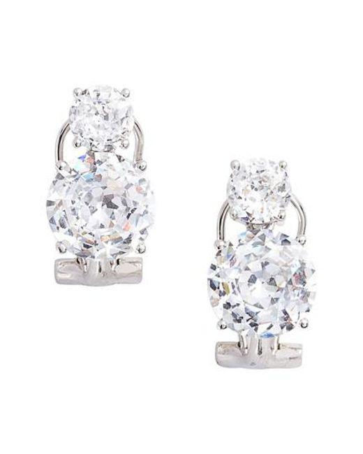 Nadri | Metallic Double Cubic Zirconia Clip Stud Earrings | Lyst