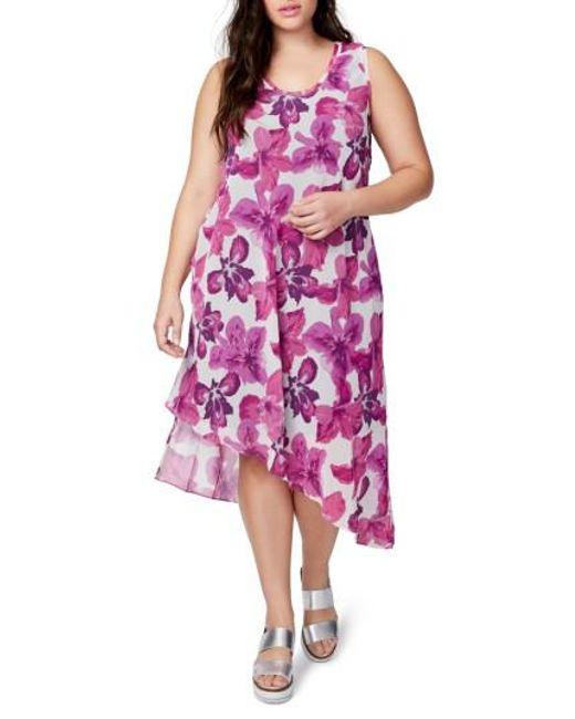 RACHEL Rachel Roy | Pink Asymmetrical Floral Midi Dress | Lyst