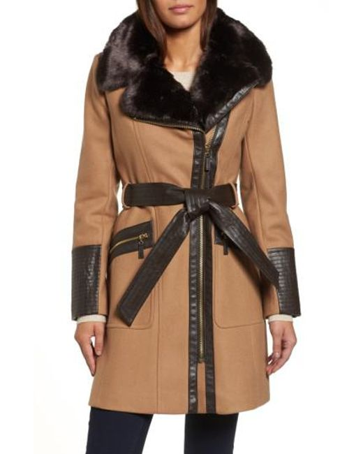 Via Spiga | Natural Faux Leather & Faux Fur Trim Belted Wool Blend Coat | Lyst