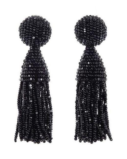 Oscar de la Renta | Black 'classic Short' Tassel Drop Earrings | Lyst