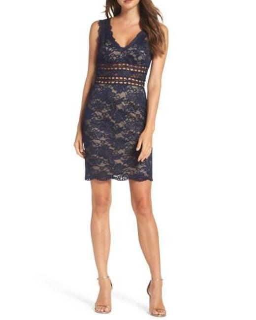 Xscape | Blue Lace Body-con Dress | Lyst