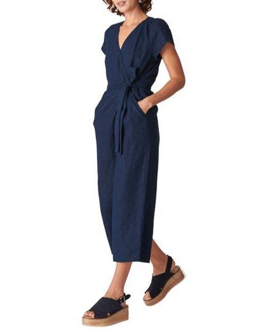 64d224d47c2b Lyst - Whistles Etta Linen Jumpsuit in Blue