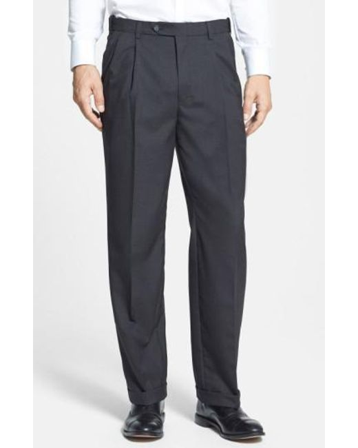 Berle   Gray Self Sizer Waist Pleated Trousers for Men   Lyst