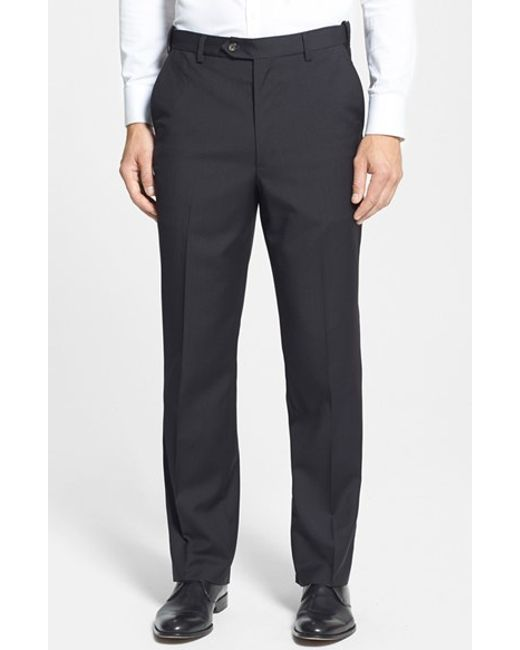Berle | Blue Self Sizer Waist Flat Front Wool Trousers for Men | Lyst