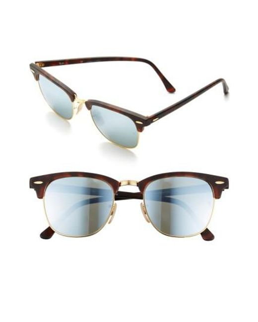 Ray-Ban | Metallic 'flash Clubmaster' 51mm Sunglasses for Men | Lyst