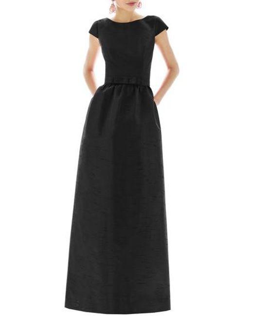 Alfred Sung - Black Cap-Sleeve Dupioni Full-Length Dress - Lyst