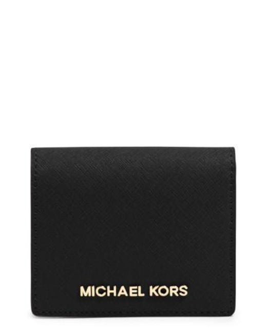 MICHAEL Michael Kors | Metallic 'jet Set' Saffiano Leather Wallet | Lyst