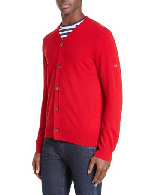 Comme des Garçons - Red Play Wool Cardigan for Men - Lyst