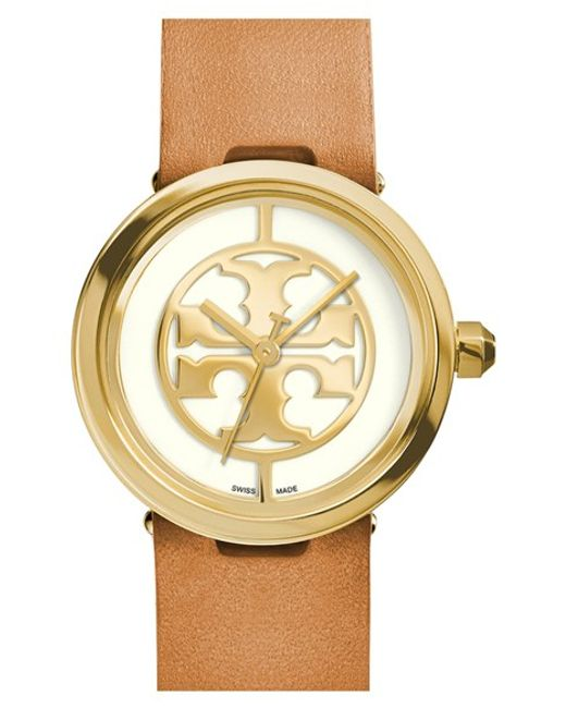 Tory Burch | Metallic 'reva' Logo Dial Leather Strap Watch | Lyst