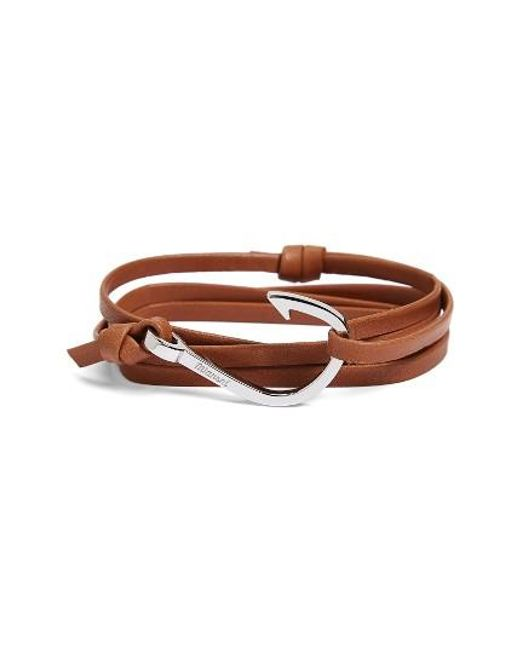 Miansai | Brown Silver Hook Leather Bracelet for Men | Lyst