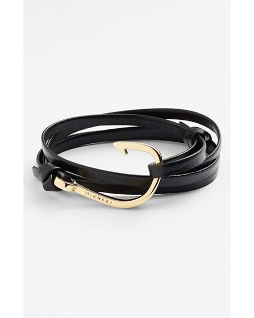 Miansai | Black Gold Hook Leather Bracelet for Men | Lyst