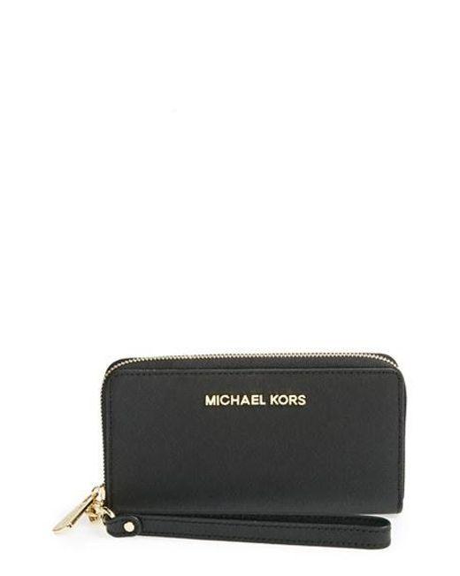 MICHAEL Michael Kors | Black 'large Jet Set' Saffiano Leather Phone Wristlet | Lyst