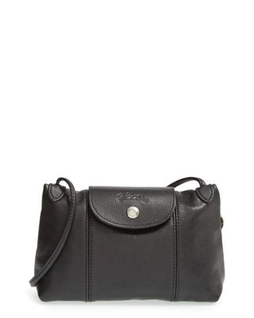 Longchamp | Black 'Le Pliage - Cuir' Crossbody Bag | Lyst