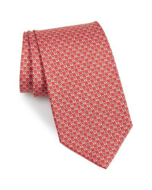 Ferragamo - Red Estro Print Silk Tie for Men - Lyst