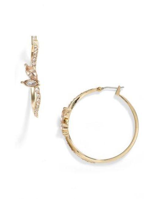 Jenny Packham   Metallic Glistening Shadows Pave Hoop Earrings   Lyst