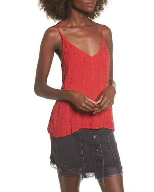 LOST AND WANDER | Red Lost + Wander Rouge Beaded Camisole Top | Lyst