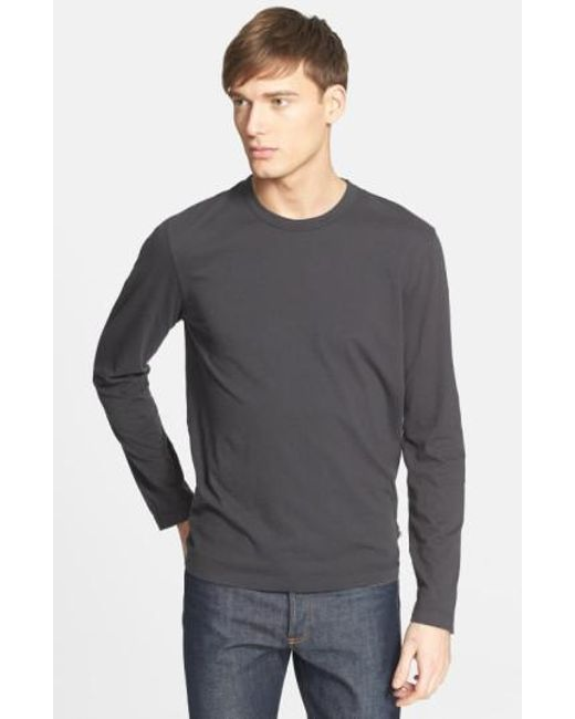 James Perse - Black Long Sleeve Crewneck T-shirt for Men - Lyst