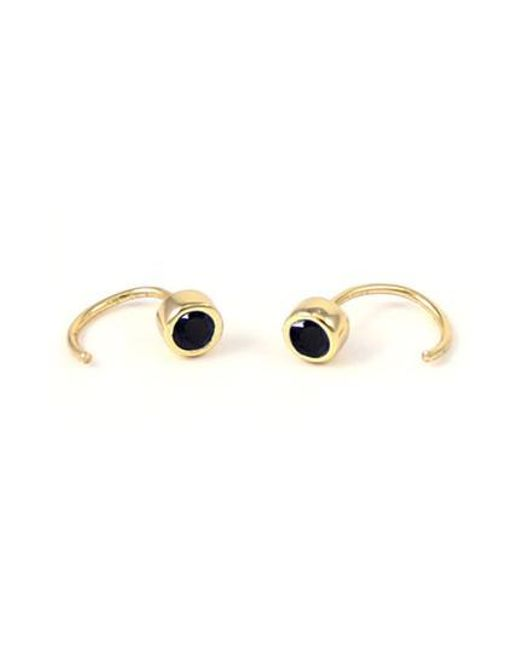 Kris Nations | Metallic Tiny Stone Hoop Earrings | Lyst