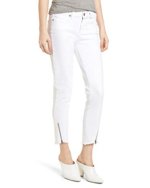 PAIGE - White Verdugo Crop Ultra Skinny Jeans - Lyst