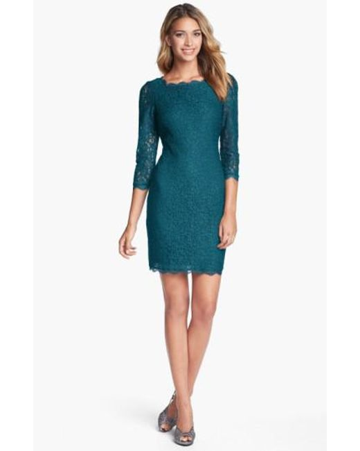 Adrianna Papell | Green Lace Overlay Sheath Dress | Lyst