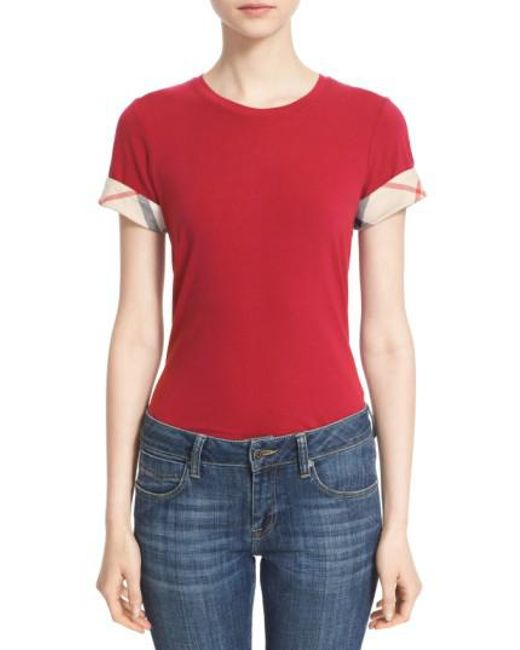 Burberry - Red Check Trim Tee - Lyst