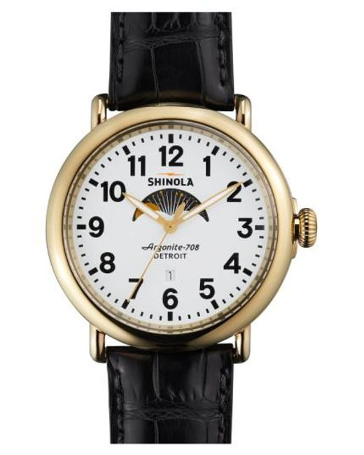 Shinola | Metallic 'the Runwell' Moon Phase Leather Strap Watch for Men | Lyst