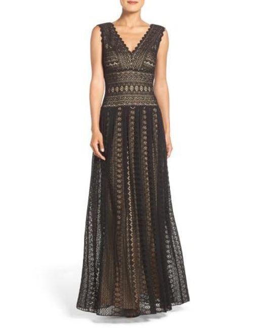 Tadashi Shoji   Black Crochet Lace Fit & Flare Gown   Lyst