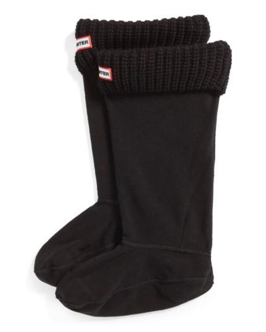 Hunter | Black Tall Cardigan Knit Cuff Welly Boot Socks | Lyst