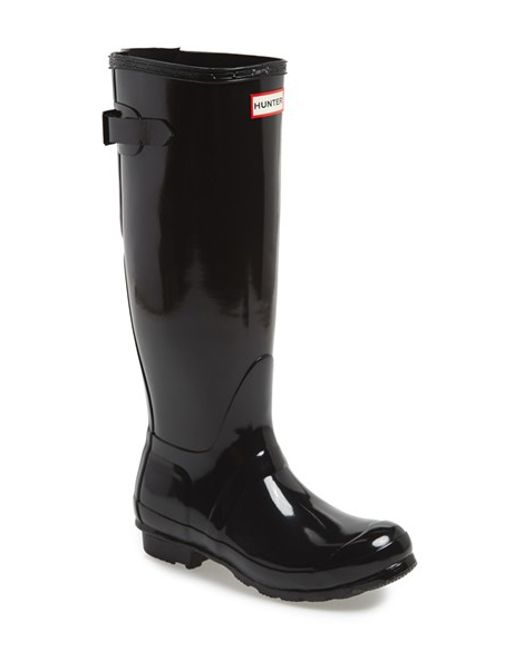 HUNTER | Black Adjustable Back Gloss Rain Boot | Lyst