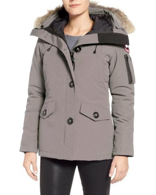 Canada Goose - Gray Montebello Slim Fit Down Parka With Genuine Coyote Fur Trim - Lyst