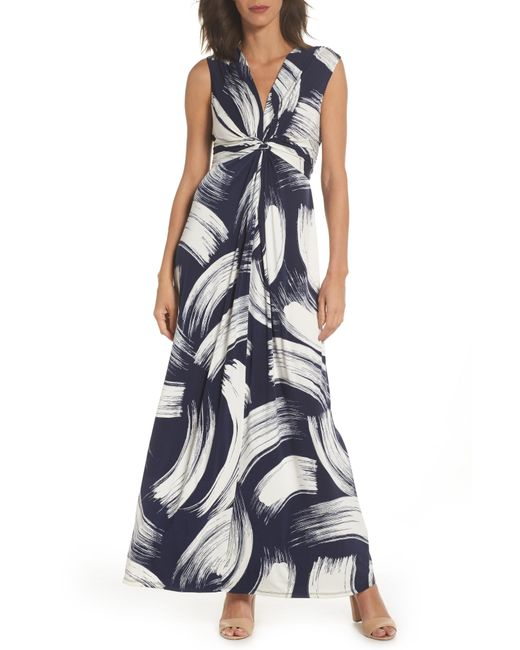 Eliza J - Blue Brush Print Jersey Maxi Dress - Lyst