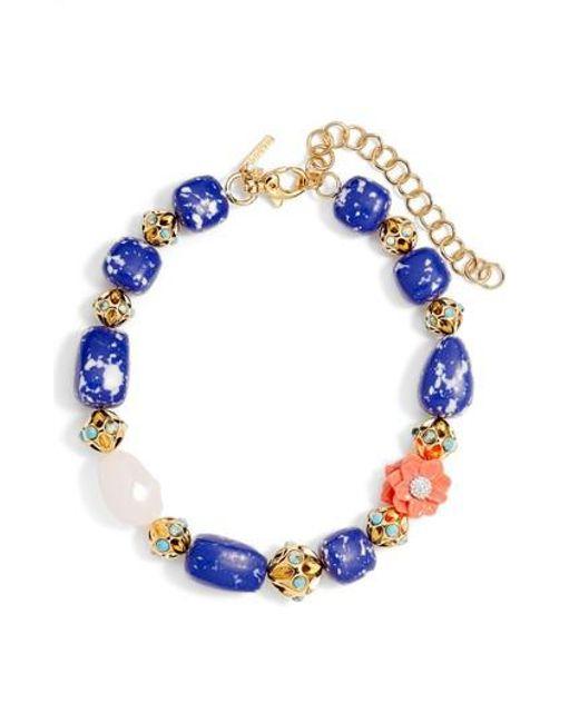 Lele Sadoughi - Blue Keepsake Stone Collar Necklace - Lyst