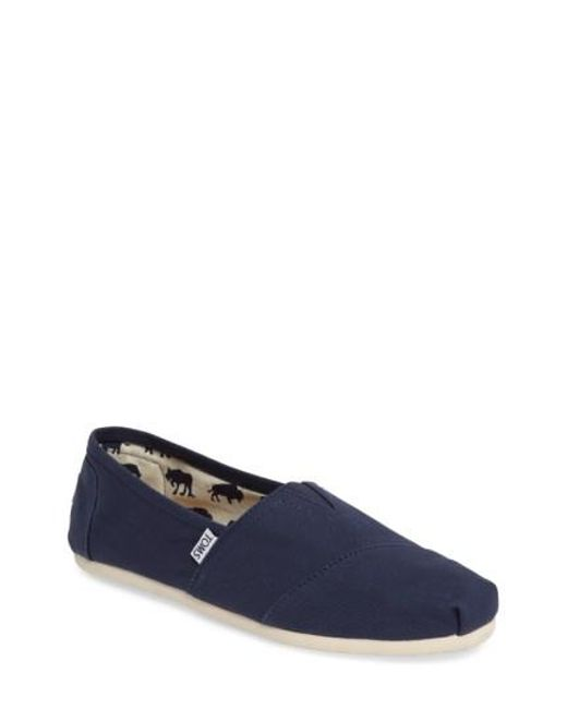 TOMS - Blue 'classic' Canvas Slip-on for Men - Lyst