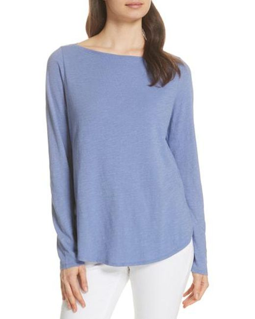 Eileen Fisher - Blue Bateau Neck Organic Cotton Tee - Lyst