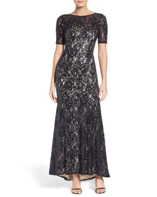 Adrianna Papell | Multicolor Sequin Lace Gown | Lyst
