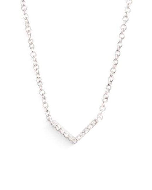 EF Collection | Metallic Mini Chevron Diamond Pendant Necklace | Lyst