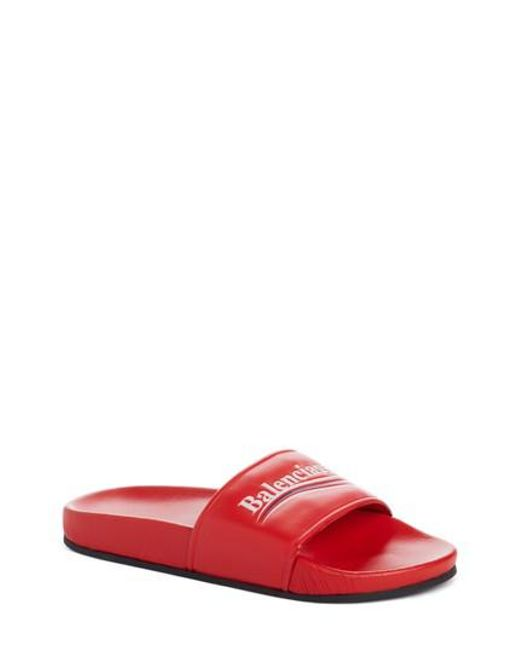 Balenciaga - Pink Logo Slide Sandal - Lyst