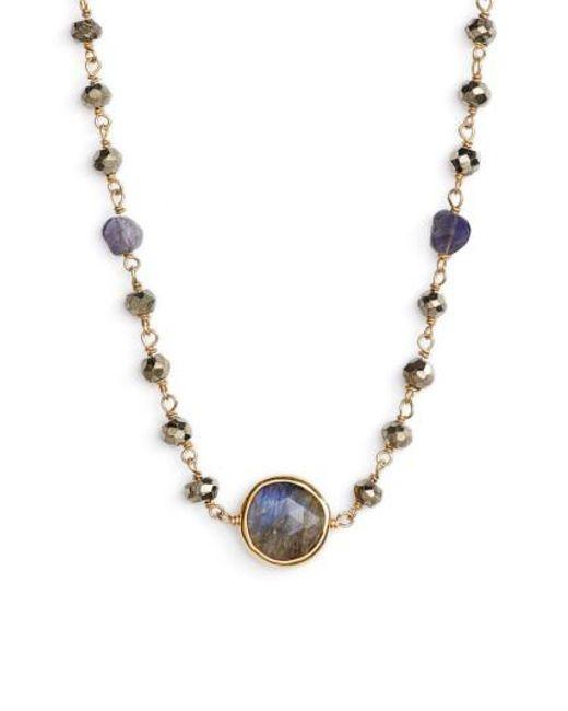 Ela Rae | Metallic El Rae Semiprecious Stone Collar Necklace | Lyst