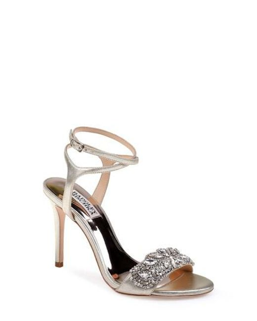 Badgley Mischka Hailey Satin Rhinestone Ankle Strap Dress Sandals