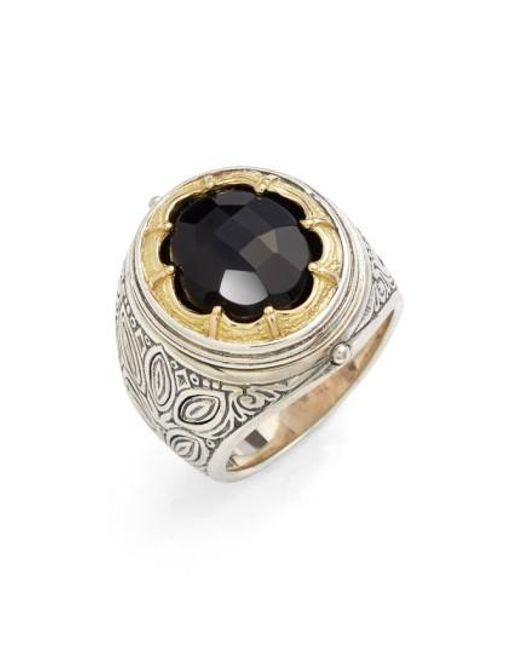 Konstantino | Black 'orpheus' Petal Set Semiprecious Stone Ring | Lyst