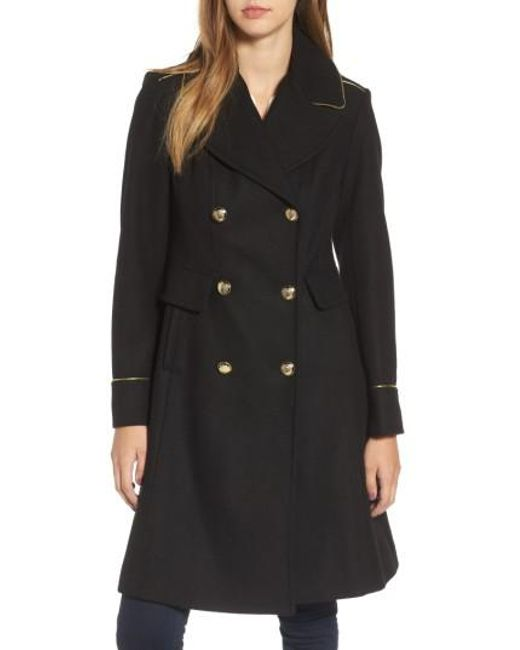 Vince Camuto | Black Double Breasted Utility Coat | Lyst