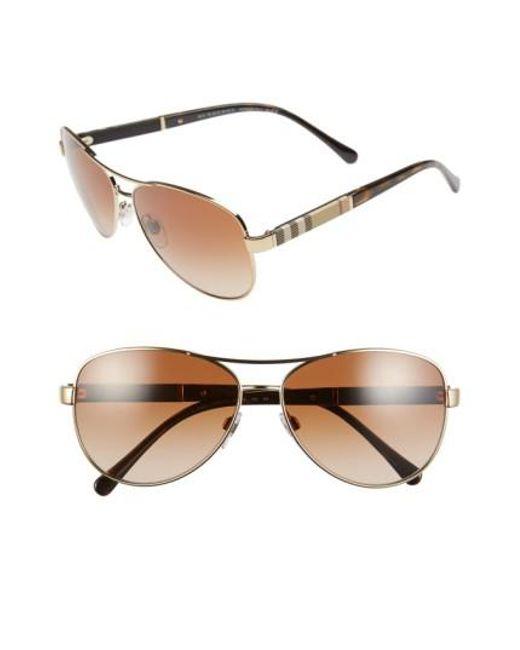 Burberry - Metallic 59mm Aviator Sunglasses - Lyst