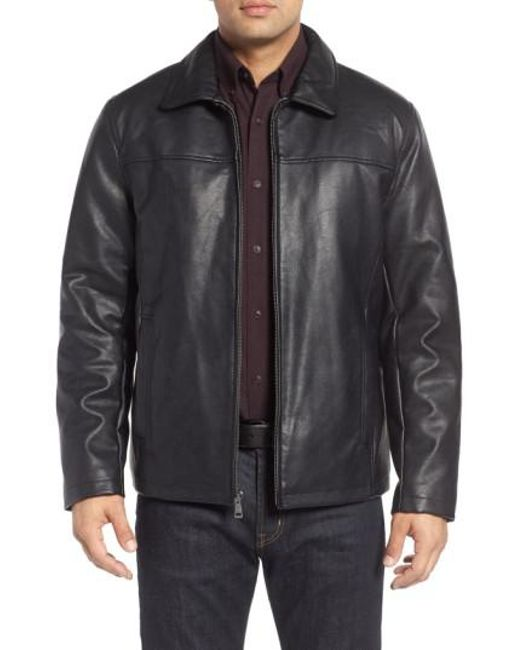 Cole haan collared open bottom faux leather jacket in for Define faux leather