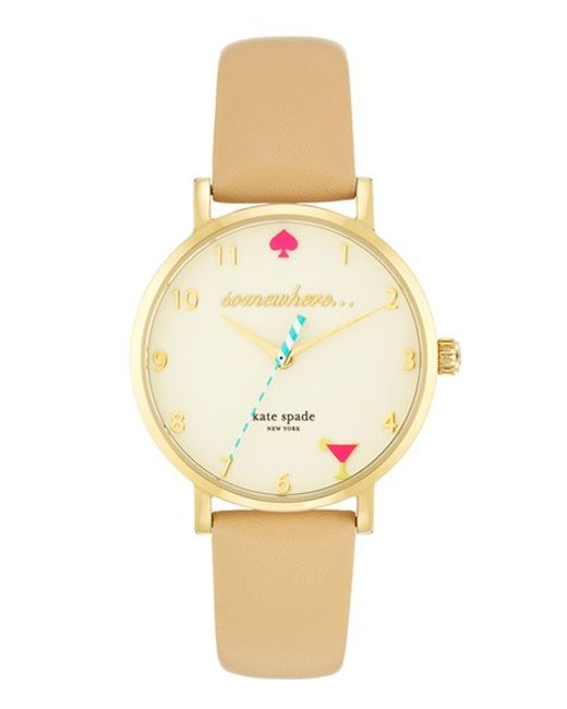 kate spade new york | Metallic 'metro - Somewhere' Leather Strap Watch | Lyst