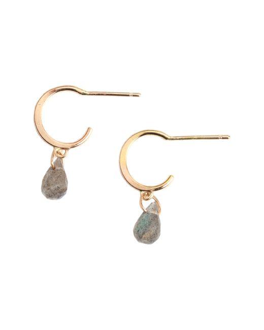 Melissa Joy Manning Metallic Mini Hoop Stone Drop Earrings