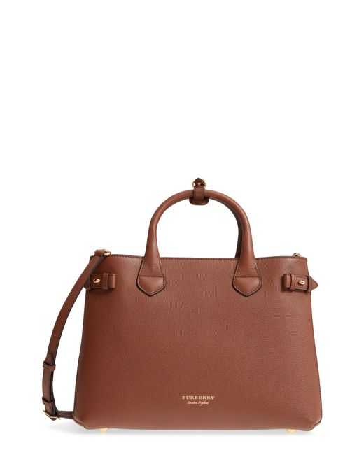 f8f0ece37ec4 Lyst - Burberry Medium Banner House Check Leather Tote - in Black ...