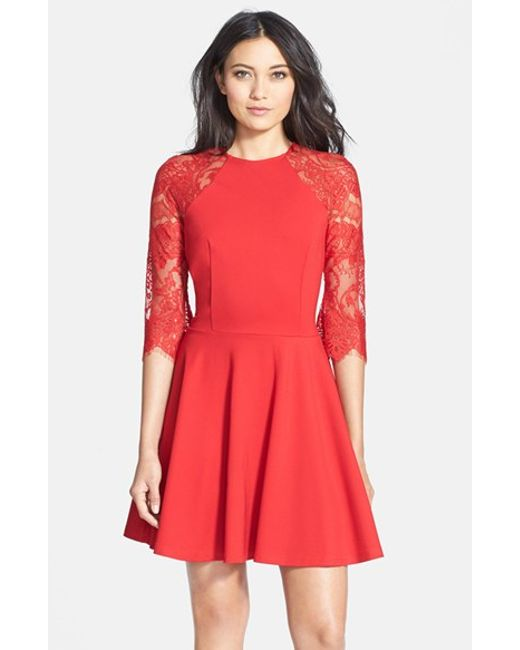 BB Dakota | Red 'yale' Lace Panel Fit & Flare Dress | Lyst